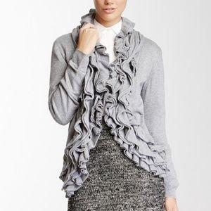 Romeo & Juliet Couture gray ruffle cardigan